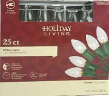 New 25 Count C-9 Clear Christmas / Wedding / Deck Lights Holiday Living 99506