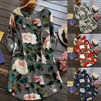 Summer Women's Floral Print Mini Dress Cotton and Linen Long Shirt Plus Size US