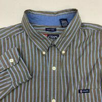 Chaps Button Up Shirt Mens XXL Brown Blue Stripe Long Sleeve Casual
