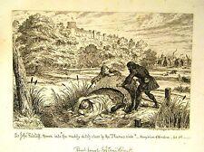 Etchings Sir John FALSTAFF George Cruikshank FALSTAFF gettato in un fosso 1858