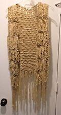 Umgee Women's Beige Crochet Fringed Vest Top Size Medium