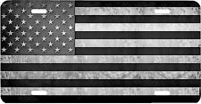 Black and White American Flag Vehicle License Plate USA
