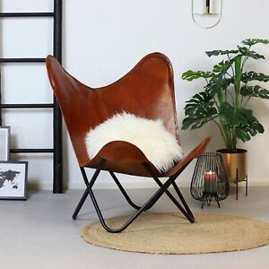 Leather Butterfly Chair Brown Vintage Leather Arm Butterfly Chair Handmade Chair
