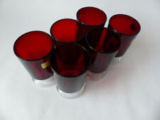 Vintage 70's French Luminarc Ruby Red Sherry/ Port Drinking Glasses