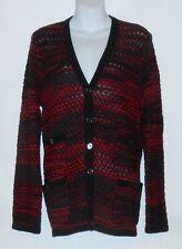 Jones New York Signature Woman V-Neck Long Cardigan Sweater Jacket Red Combo 2X