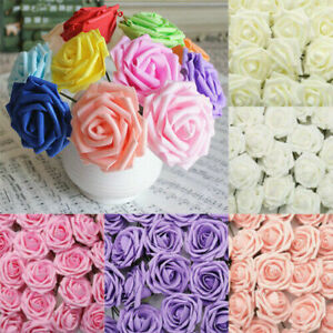 50pcs Artificial Flowers Foam Roses Fake Wedding Bride Bouquet Party Home Decor
