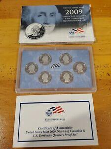 2009 U.S. Mint Proof QUARTERS Set of 6 District of Columbia &  U.S. Territories