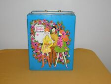 VINTAGE TOY 1969 MATTEL BARBIE DOLL TRUNK  BLUE PLASTIC CARRYING CASE