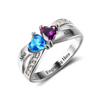 Size 6 Crossover Hearts 925 Sterling Silver Ring, Personalised Names & Engrave