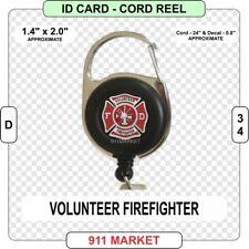 Volunteer Firefighter ID Card Cord Reel VFF Fire Fighter FD Service Depart  D 34