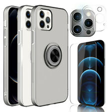 For iPhone 12 Pro Max / 12 mini / 7 / 8 Clear Ring Holder Case Screen Protector