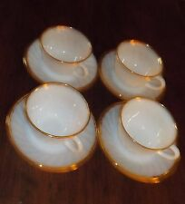 FIRE KING 4 CUPS & SAUCERs swirl Pattrn White w Gold Rim USA numbered  tea coffe