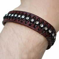 Brown Leather Crystal Bracelet Wristband Bangle Mens Womens Girls Boys Jewellery