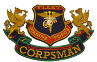 FLEET MARINE FORCE FMF CORPSMAN PATCH DOC USMC MARINE CORPS NAVY USN CADUCEUS