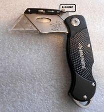 HUSKY FOLDING LOCK-BACK UTILITY RAZOR KNIFE ALUMINUM HANDLE & CLIP  QUICK CHANGE