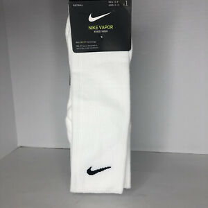 Men's Nike Dri-Fit Vapor Knee High Football White Socks Mens 6-8 New Ships Fast
