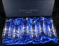 6 Stunning Boxed vintage lead crystal Bohemia high ball glasses tumblers mixers
