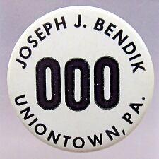 1940's WWII JOSEPH J. BENDIK Uniontown PA. employee badge pinback HOME FRONT +