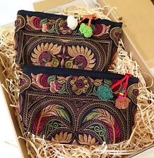 EMBROIDERED PURSE BAG CLUTCH WITH REMOVABLE LEATHER STRAP