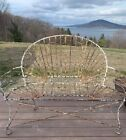 ANTIQUE Victorian 1800's  WIRE BENCH French GARDEN White Farmhouse Country
