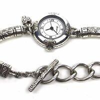 Brighton Watch Marrakesh Silver Plate Bracelet Toggle Clasp White Dial Boho