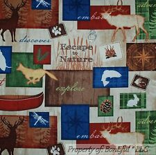 BonEful Fabric FQ Cotton Quilt Log Cabin Deer Moose Tent Tree Deer Fish Fox Men