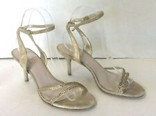 GLINT Gold Glittered Strap Vamp Ankle Strap Heeled Sandals Size 7 M