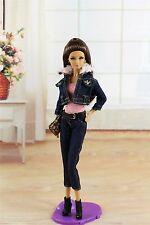 5in1 Set Denim Clothes Coat+Vest+Pants+Bag+Shoes FOR Barbi Doll Girl Gift K12