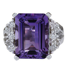 7.55 Carat Natural Amethyst 18K Solid White Gold Diamond Cocktail Ring