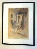 Charles FW Mielatz 1903 Antique Etching New York Houston Street Old Door