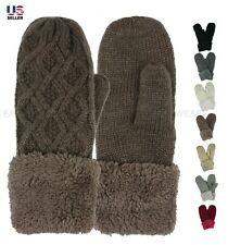 Womens Knitted Thick Fleece Fur Lined Winter Gloves Mittens Thermal Warm Soft