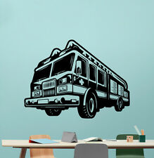 Fire Truck Wall Decal Engine Fireman Firefighter Vinyl Sticker Decor Mural 74xxx