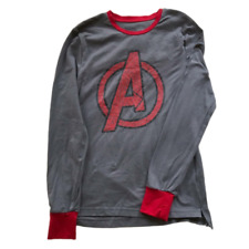 Avengers Mens Sleepwear Shirt Marvel Cotton Stretch Long Sleeve Gray Size Medium