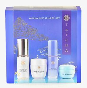 Tatcha BestSellers 4 pc Gift Set - Oil Rice Polish Water Cream Skin Mist NIB NEW