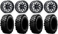 "Raceline Krank 14"" Black Wheels 30"" Carnivore Tires Can-Am Defender"
