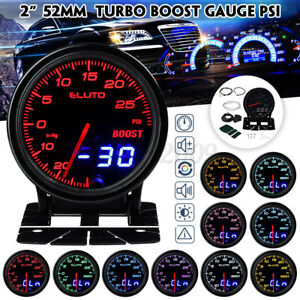 2'' 52mm 10 Colors LED Car Turbo Boost Gauge PSI Meter Dual Analog/Digital ·~