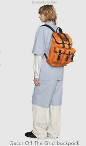 GUCCI OFF THE GRID BACKPACK MENS. COLOR ORANGE. STYLE 626160H9HFN7560. BRAND NEW