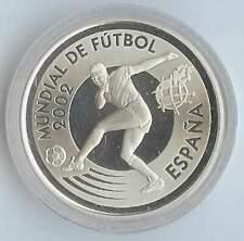 Spanje 10 euro 2002 Proof zilver PP: WK Voetbal / Bal / Speler