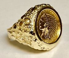 14K Yellow Gold 23.5 MM NUGGET COIN RING with  2 1/2 DOLLAR INDIAN HEAD COIN