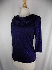 Formal Fashions Women's Sz 10 Blouse Top Black & Royal Blue Shiny 3/4 Sleeve