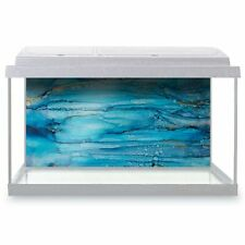 Fish Tank Background 90x45cm - Cool Blue Stained Glass Ink Art  #16014