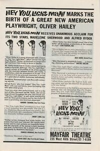 1963 vintage print ad for Hey You, Light Man Oliver Hailey's first play
