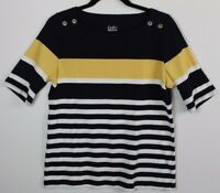 Croft&Barrow Navy Blue/Yellow Striped Blouse Women's Top Size M Short Sleeves
