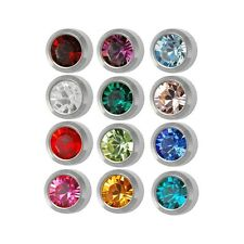Ear Piercing Earring Studs Stan Assorted Colors White Surgical Steel 12 Pairs