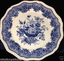 "MASONS ASCOT BLUE 10 3/4"" DINNER PLATE WHITE WITH BLUE FLORAL & URN ENGLAND"