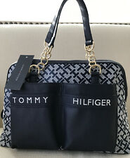 Tommy Hilfiger Blue Signature TH Logo Double Front Pocket Chain Handle Satchel