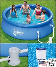 "Round Above Ground Swimming Pool Pump Filter Summer Escapes 10' x 30"" Quick Set"