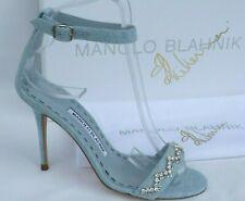 Manolo Blahnik x Rihanna SHOES £650 PALE BLUE DENIM JEWELLED HEELS Size 35 UK 2