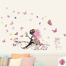 FAIRY FLOWERS BUTTERFLIES Wall Sticker Vinyl Nursery GIRLS BABY PINK Disney