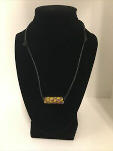 Vintage Leather Necklace With Hand Made Bead